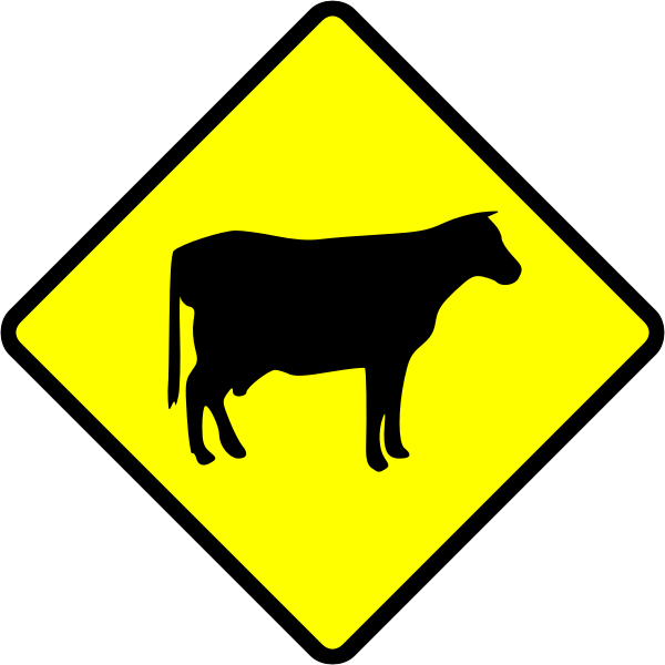 Cows crossing caution sign vector image