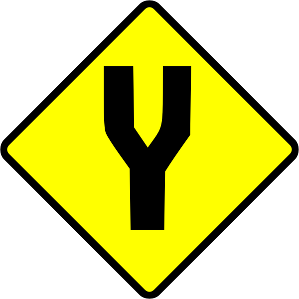 Fork in road caution sign vector image