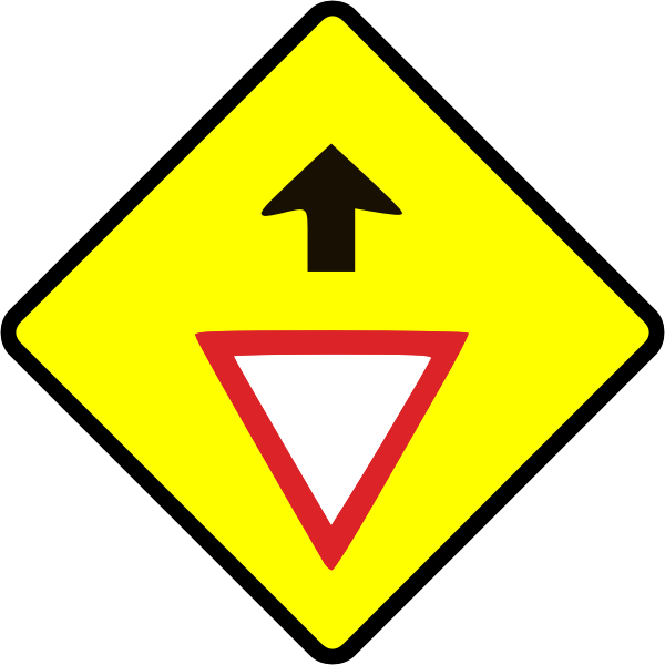 Give way caution sign vector image
