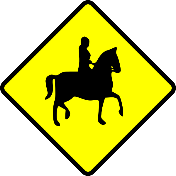 Horse rider caution sign vector image