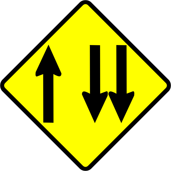 Overtaking lane caution sign vector image