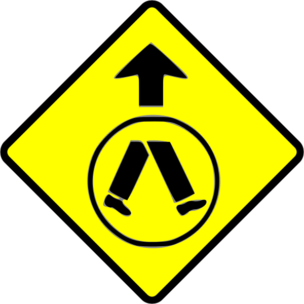 Pedestrian crossing caution sign vector image