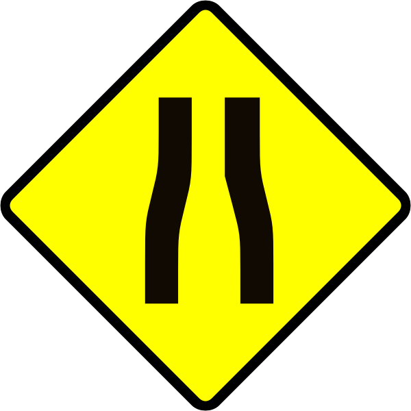 Road narrows caution sign vector image
