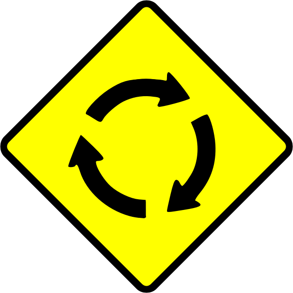Roundabout caution sign vector image