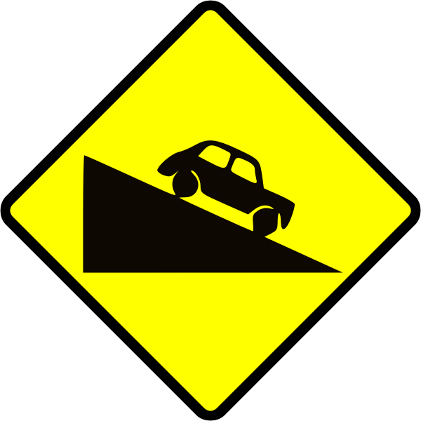 Steep hill down caution sign vector image