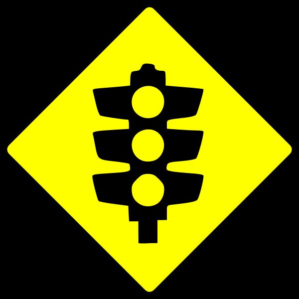 Traffic lights caution sign vector image