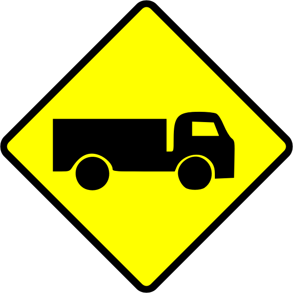 Caution truck sign vector image