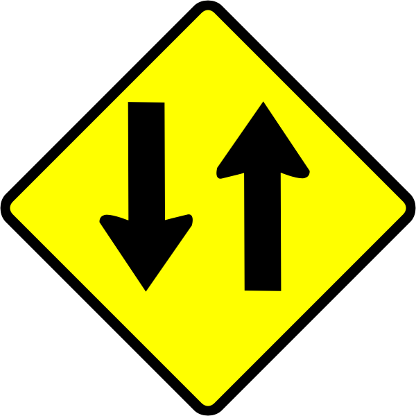 Two-way road caution sign vector image