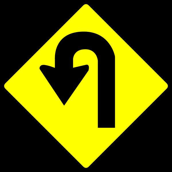 U-turn caution sign vector image
