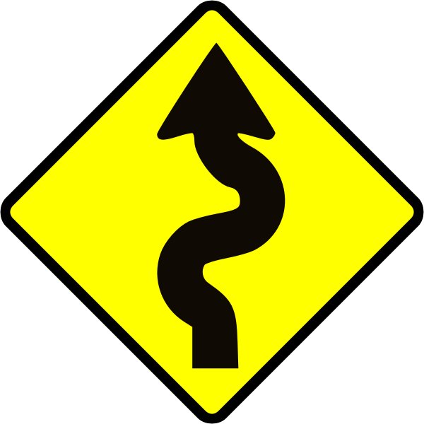 Winding road caution sign vector image