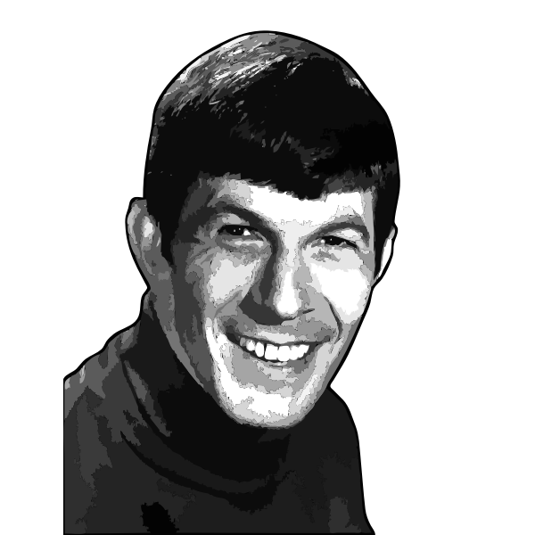 Vector illustration of Leonard Nimoy shaded pencil drawing