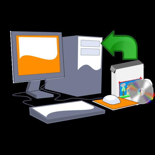 Install computer software CD vector clip art