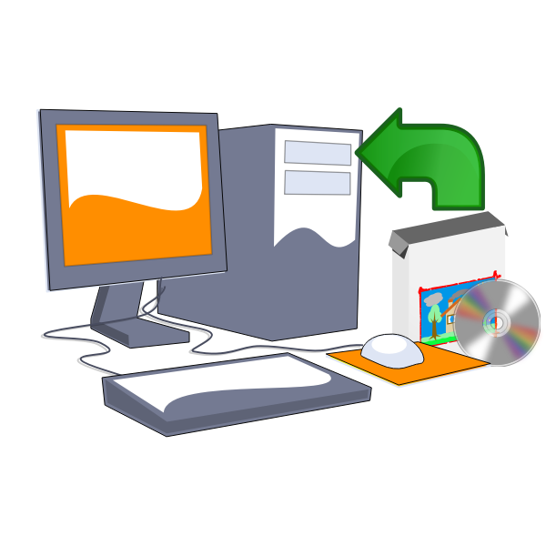 Install computer software CD vector clip art