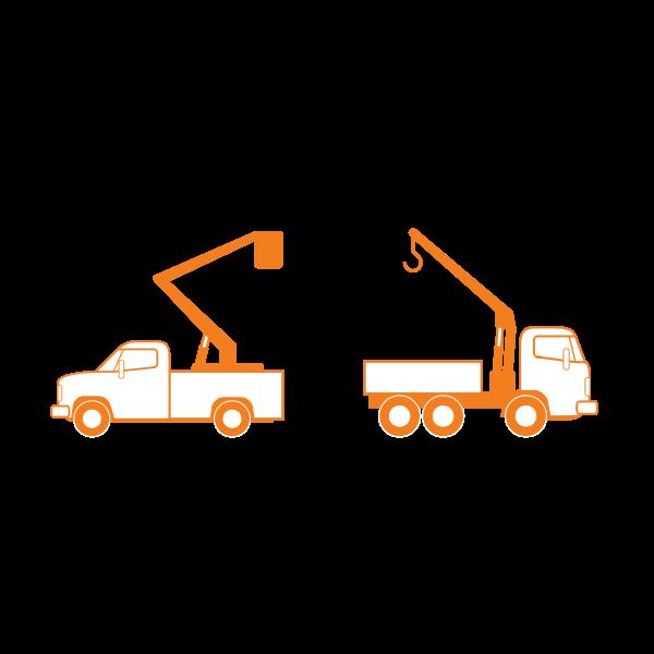 Lift and crane trucks vector drawing
