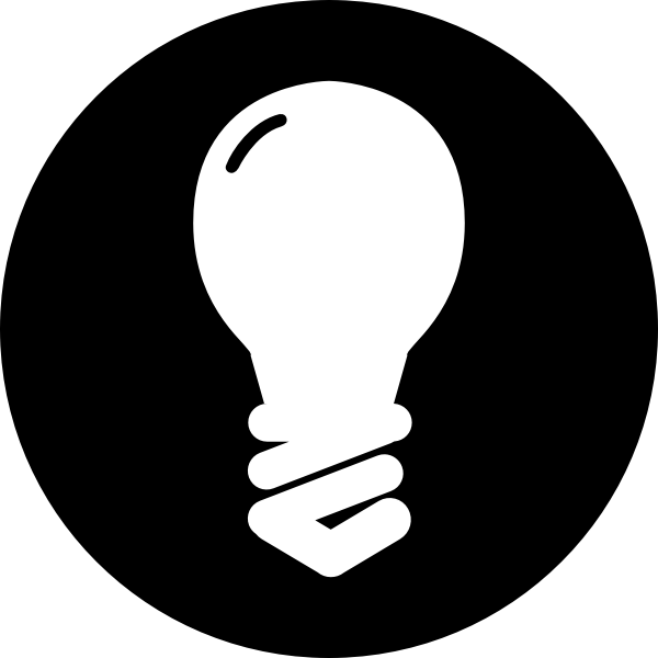 Traditional light bulb icon in black circle vector image