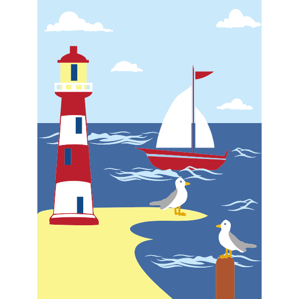 Lighthouse seaside scene