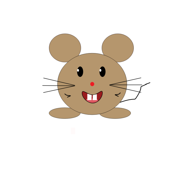 Vector illustration of smiling brown cartoon mouse