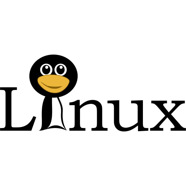 Linux text with funny tux face vector image