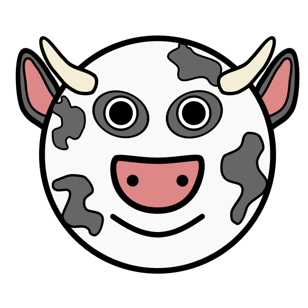 Vector graphics of round face cartoon cow