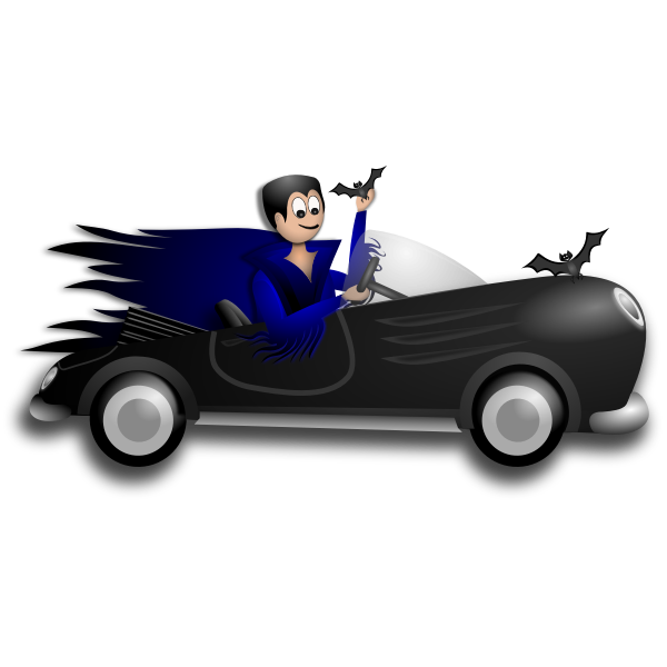 Little Dracula driver vector clip art