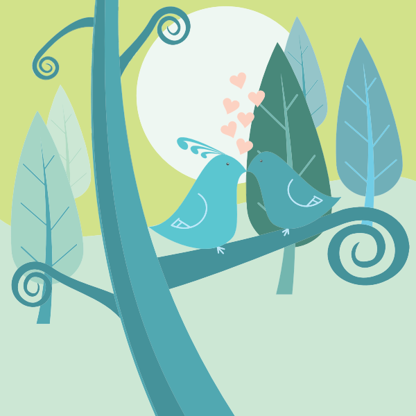 Vector image of love birds on a forest tree
