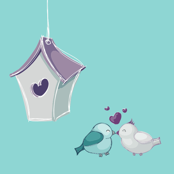 Vector graphics of two birds kissing