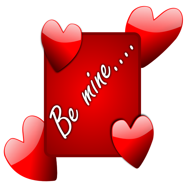 Be mine sign with hearts vector image