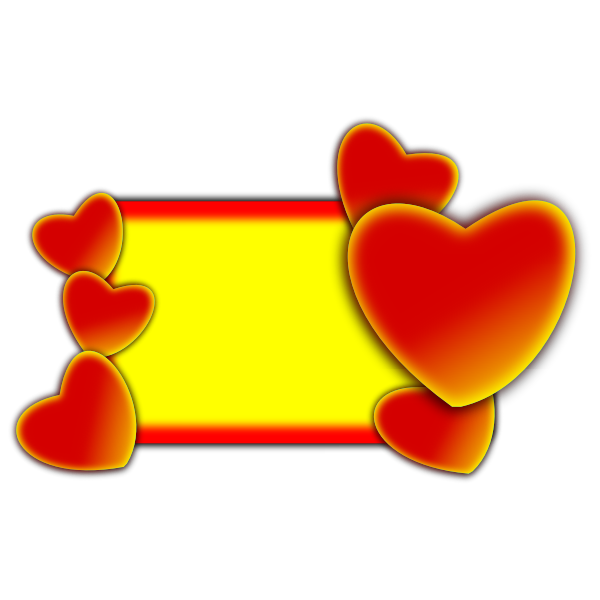 Vector image of board decorated with hearts