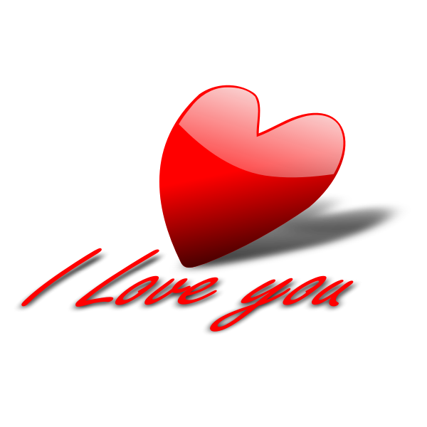 Vector image of glossy tilted heart