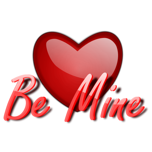 Glossy vector image of heart with be mine wording
