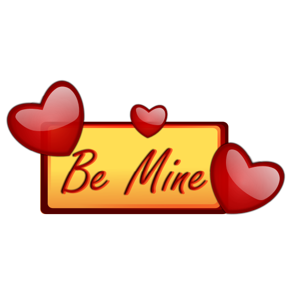 Be mine signpost with hearts vector image