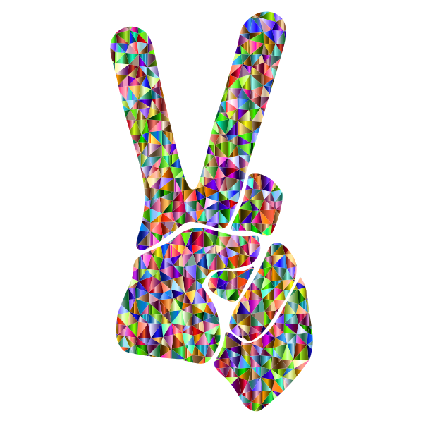 Low Poly Chromatic Peace Sign Silhouette Smoothed
