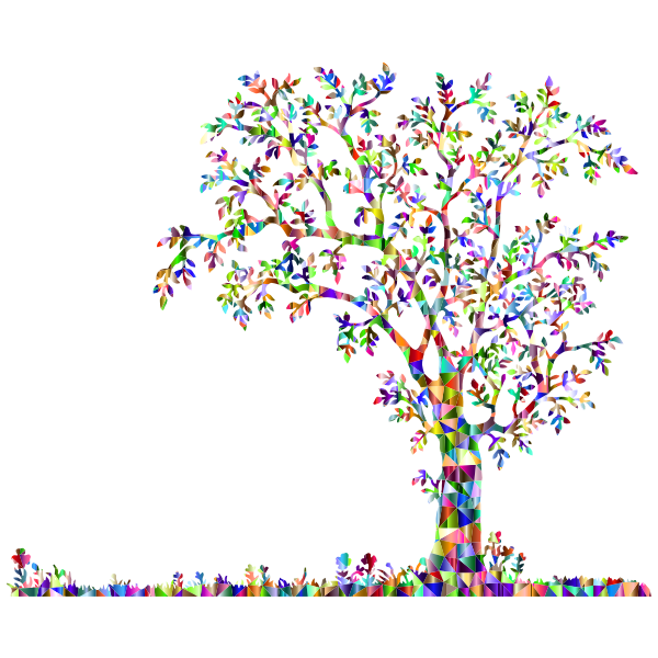 Low Poly Chromatic Tree And Flowers