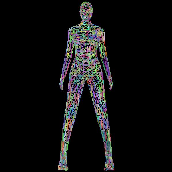 Low Poly Female Body Wireframe Prismatic