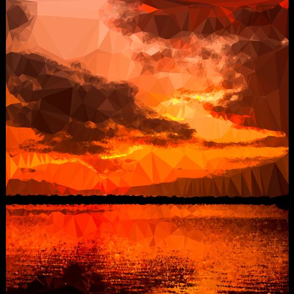 Low Poly Ocher Sunset