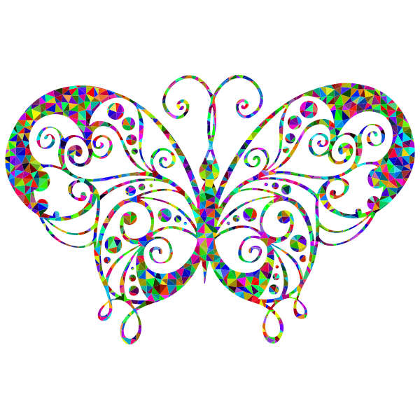 Prismatic flourish butterfly silhouette