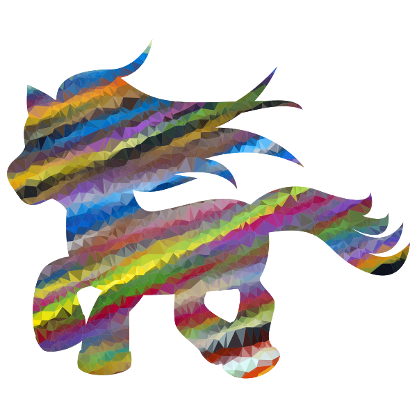 Low Poly Prismatic Streaked Fantasy Pony