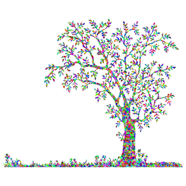 Low Poly Prismatic Tree And Flowers