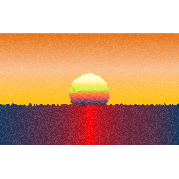 Low Poly Simple Sunset Scene