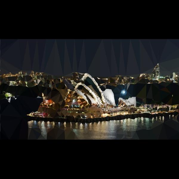 Low Poly Sydney Opera House Night Scene