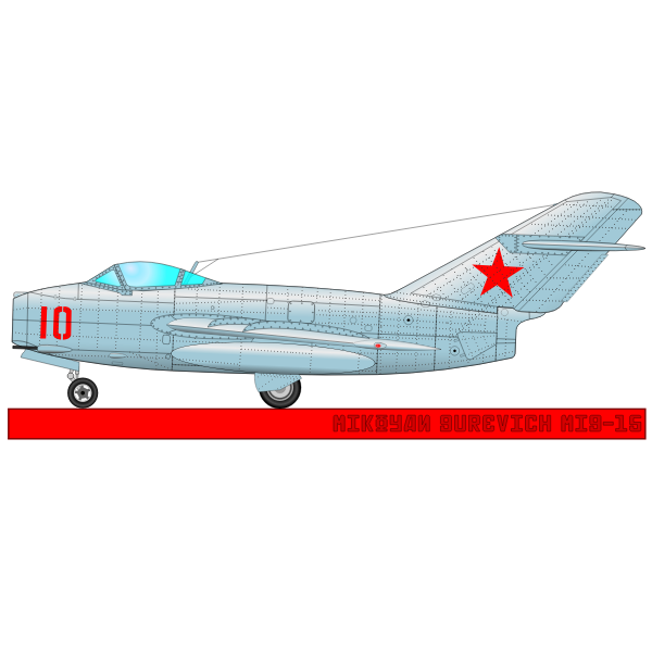 Military aircraft MIG-15 vector