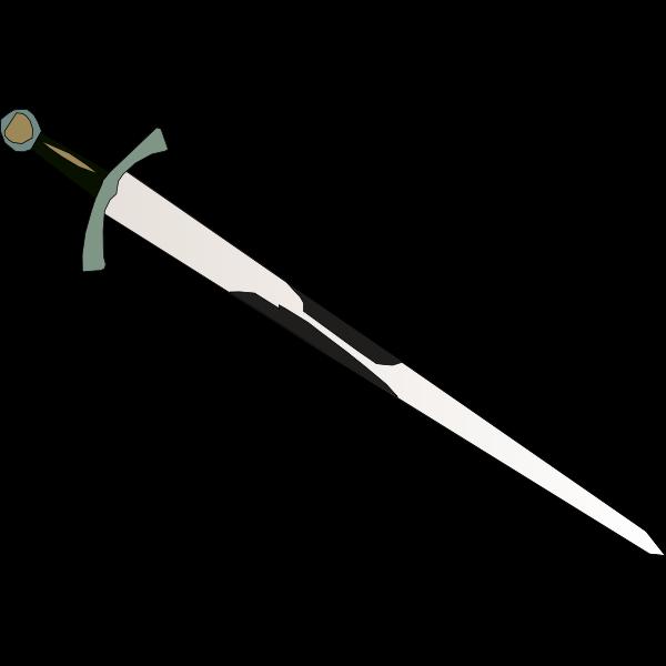 Sword with brown handle vector graphics