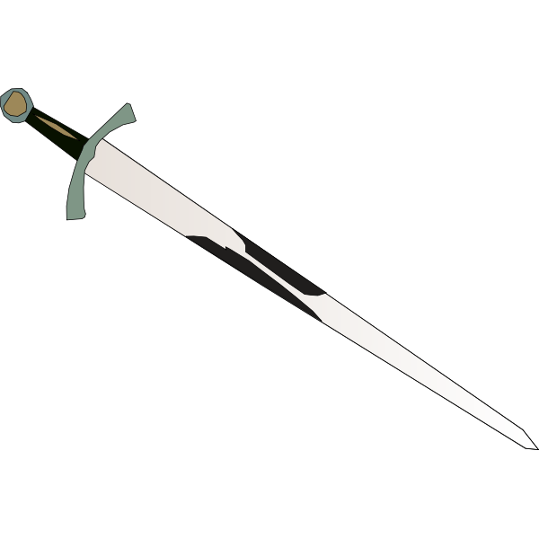 Sword with brown handle vector graphics