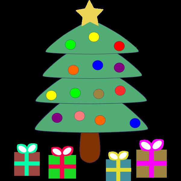 Vector clip art of cartoon presents under Christmas tree