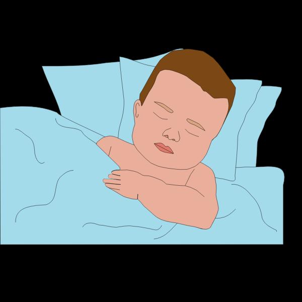 Vector image of boy in bed
