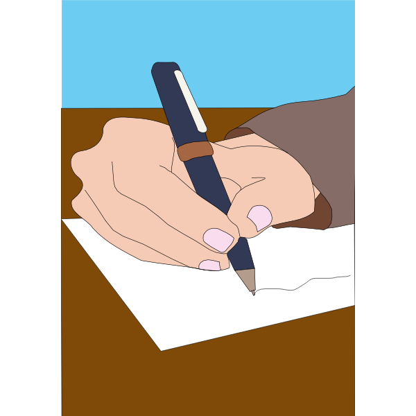 Vector illustration of hand and pen