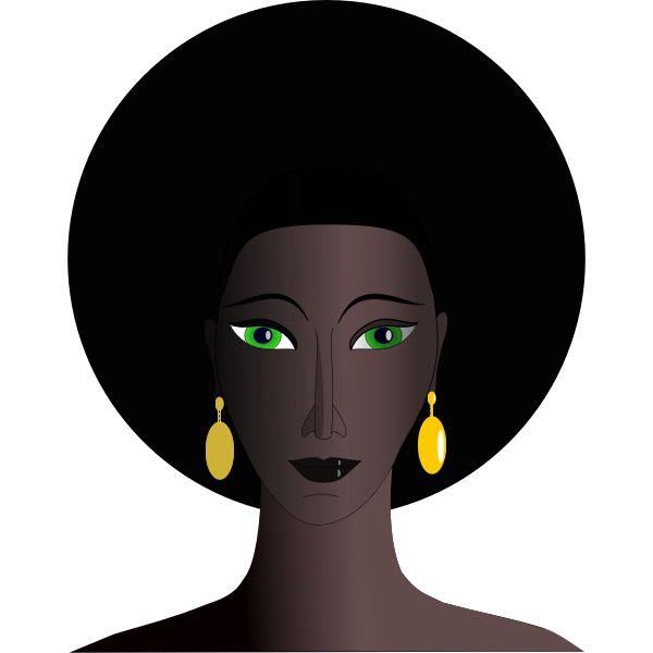 Vector drawing of black woman with green eyes