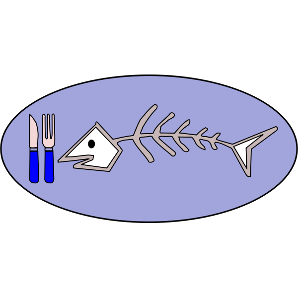 Vector image of fish bone on plate