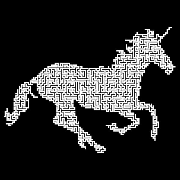 Magical Unicorn Silhouette No Stars Maze