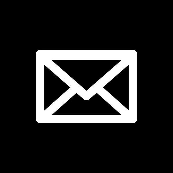 Mail Icon White on Black